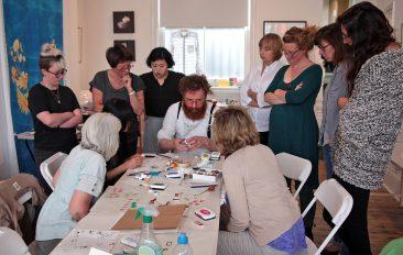 Stamp carving demonstration