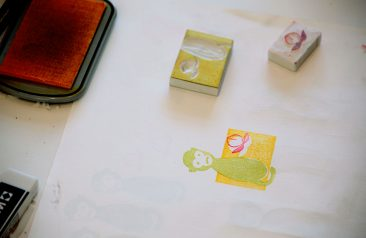 Three colour rubber stamp