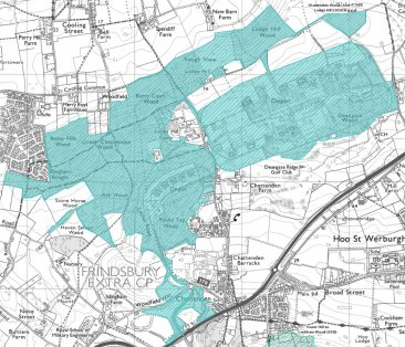 Extent of Chettenden Woods & Lodge Hill SSSI's